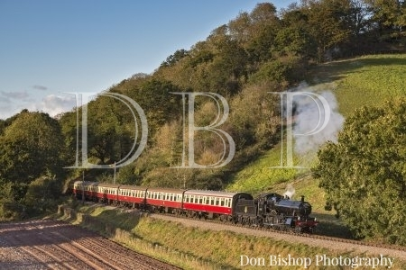 """Manor No. 7822 """"Foxcote Manor"""" climbing past Castle Hill, Williton, West Somerset Rly, with a Bishops Lydeard bound train on 5th October 2017."""