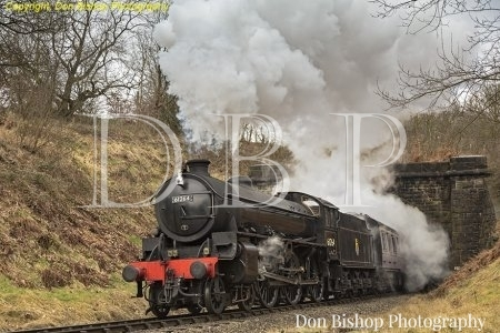 B1 No. 61264 leaving Mytholmes tunnel with a Steam Recreations charter on 10th March 2017.